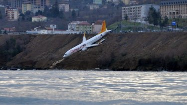 A Boeing 737-800 belonging to Pegasus Airlines after skidding off the runway at Trabzon Airport in Turkey.