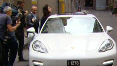 Laura Banks is wedged between Salim Mehajer's car and car door.