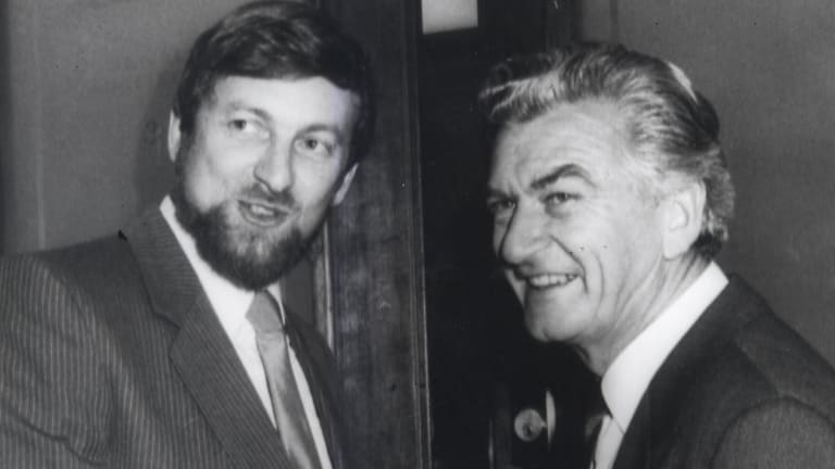 Gareth Evans and new prime minister Bob Hawke celebrating the High Court's Tasmanian dam case decision in 1983.