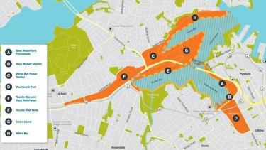 A map of the Bays Precinct Urban Renewal Program.