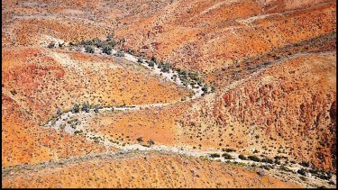 Aerial view of the northern Flinders Ranges where the rock shelter was discovered.