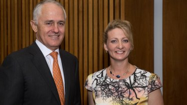 Dr Ann O'Neill with Prime Minister Malcolm Turnbull at the Media Stand Up Against Violence event on Tuesday.