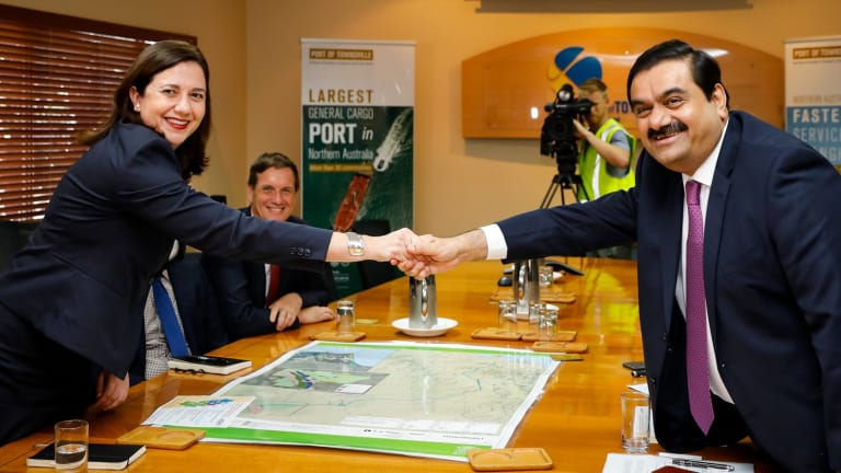 Queensland Premier Annastacia Palaszczuk pictured with Gautam Adani.