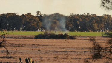 A photo taken by Office of Environment and Heritage officer Robert Strange of native vegetation being burned shortly before Glen Turner's murder at Croppa Creek.