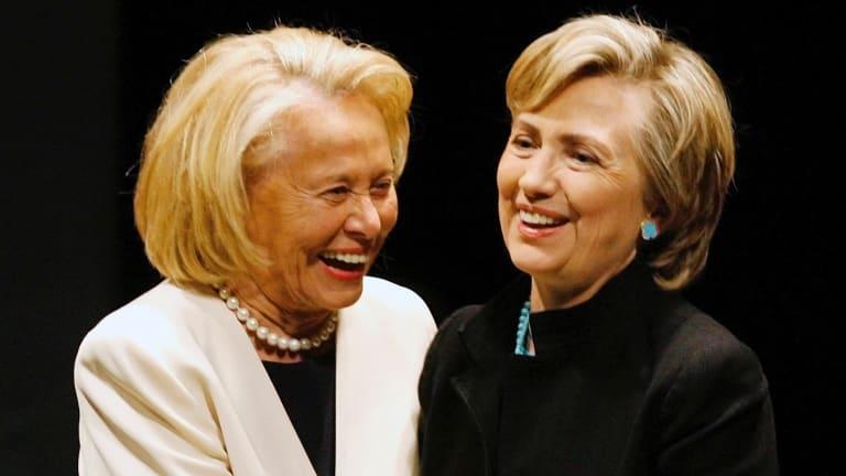 New York gossip columnist Liz Smith, left, with Hillary Clinton in 2006.