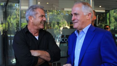 Mel Gibson attends the opening of the new NIDA Graduate School with Australian PM Malcom Turnbull.
