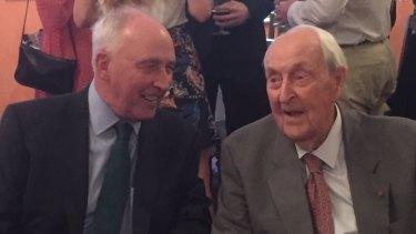 Paul Keating and Sir Lenox Hewitt at Sir Lenox's 100th birthday.