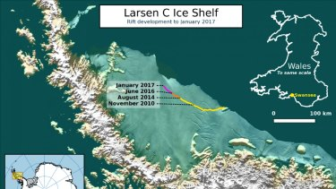 The current location of the rift on Larsen C, as of January 2017. Labels highlight significant jumps. Tip positions are derived from Landsat (USGS) and Sentinel-1 InSAR (ESA) data. Background image blends BEDMAP2 Elevation (BAS) with MODIS MOA2009 Image mosaic (NSIDC). Other data from SCAR ADD and OSM.
