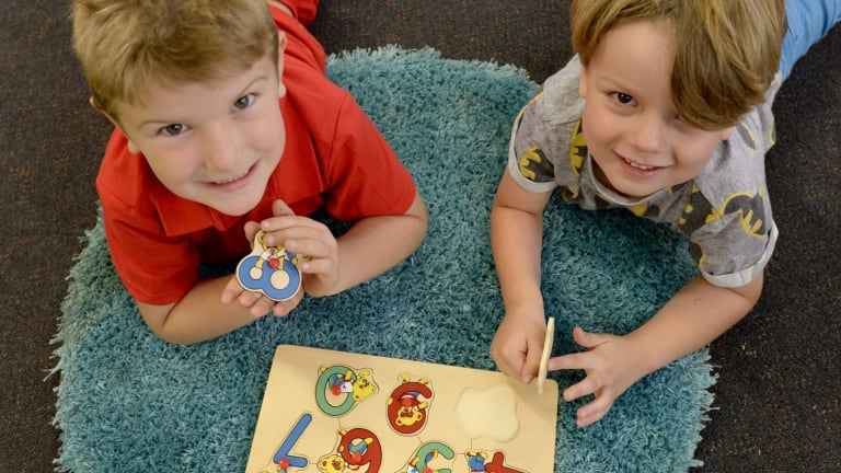 Early count: Ned Pattison and Steele Bajada brush up their maths skills at Gowrie Street kindergarten.