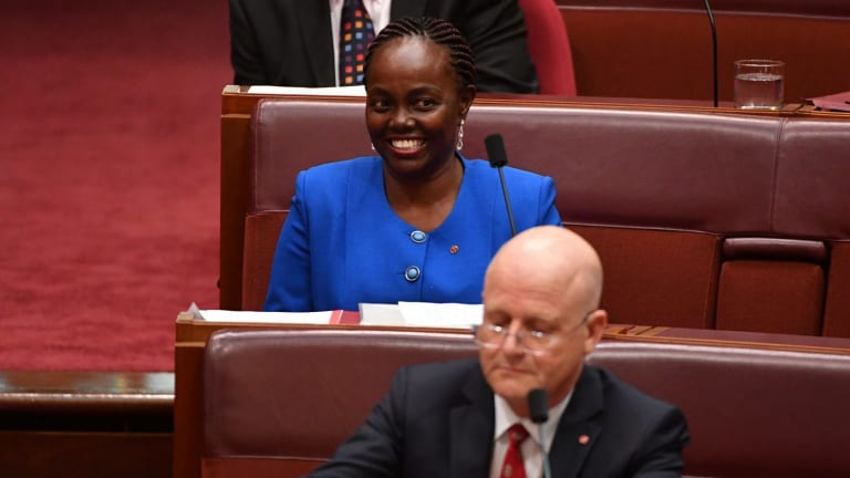 South Australian Senator Lucy Gichuhi takes her seat in the Seante on Tuesday.