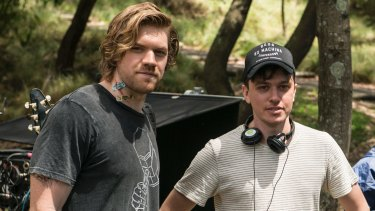 Alex England and director Abe Forsythe on the set of Little Monsters.