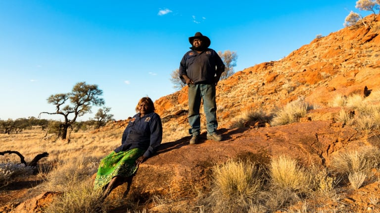 Kaltukatjara rangers Ruby James and Benjamen Kennyr, on the lands of the newly announced Katiti Petermann Indigenous Protected Area, in the south-west corner of the Northern Territory.