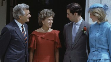 The Waleses meet the Hawkes in 1983.