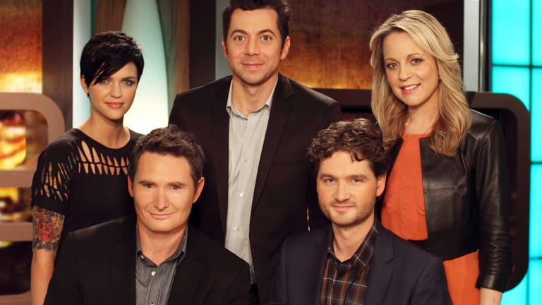 Early days: The first hosts of <i>The 7PM Project</i>, as it was known in 2009. L-R: Ruby Rose, Dave Hughes, James Mathison, Charlie Pickering and Carrie Bickmore