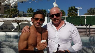 Simon McIntyre (in the white shirt) in Dubai with his associate Christian Madison.