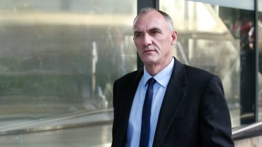 Michael Elliott leaves the Royal Commission in Newcastle after giving evidence on Thursday.