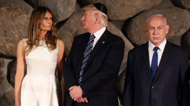 Donald and Melania Trump, next to Israeli PM Benjamin Netanyahu on tour in Israel, has made the defence of Israel on the global stage a key tenet of its foreign policy.