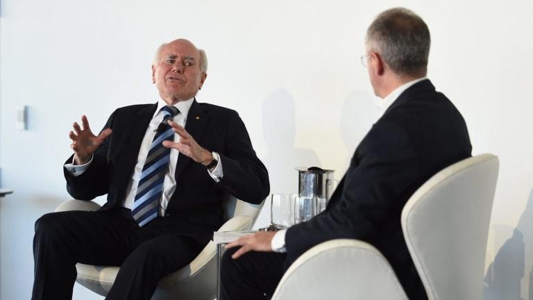 Andrew Denton interviews former prime minister John Howard at a lunch for the Gun Control Australia lobby group.