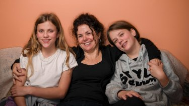 Meredith Capp and her 13-year-old twins Sophie and Tilly, who were born 15 weeks premature.