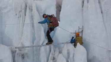 Sherpas training in the Khumbu icefall, where 16 Sherpas were killed in April, 2014.