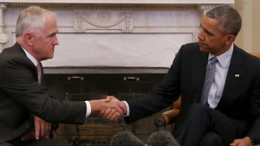Prime Minister Malcolm Turnbull meets with President of the United States Barack Obama in the Oval office of the White House.