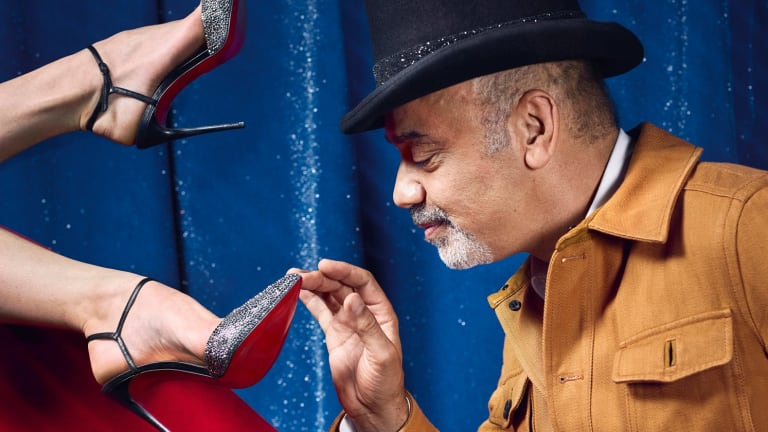 Christian Louboutin says working with showgirls is good training for a shoe designer.