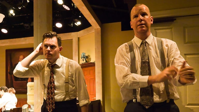TwelveAngryMen Dylan Cole, left, ?and Soren Jensen in Twelve Angry Men, directed by Chris Baldock.?