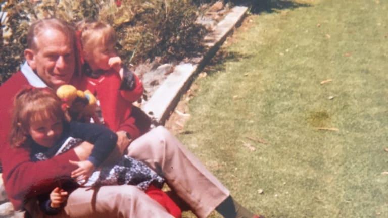 Mary Gardiner, Peter Gardiner, and Julia Gardiner in the backyard at Calala, on the outskirts of Tamworth.