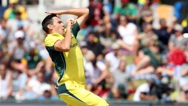 Scott Boland bowls in the fifth ODI.