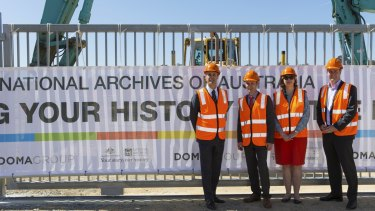 Jure Domazet (Doma Group), David Fricker (National Archives), Cheryl Watson (National Archives) and Gavin Edgar (Doma Group) at the Mitchell site.
