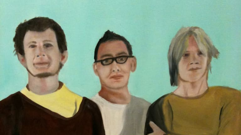Regurgitator captured in a painting with Quan Yeomans at centre.