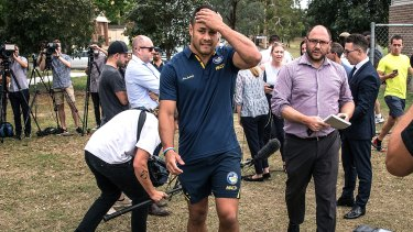 Feeling the pressure: Jarryd Hayne faces questions on and off the field in 2018.