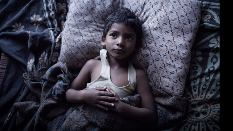 Sunny Pawar as Saroo in Lion, the most successful Australian movie of the year.
