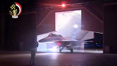 An image from Egypt's state-run television station Al-Masriya reportedly shows an F-16 fighter jet preparing to take off.