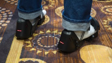 The shoes are more or less a pair of sandals with motors inside them.