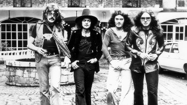 Deep Purple members (from left) Jon Lord, Ritchie Blackmore, Glenn Hughes and David Coverdale in Australia in 1975.