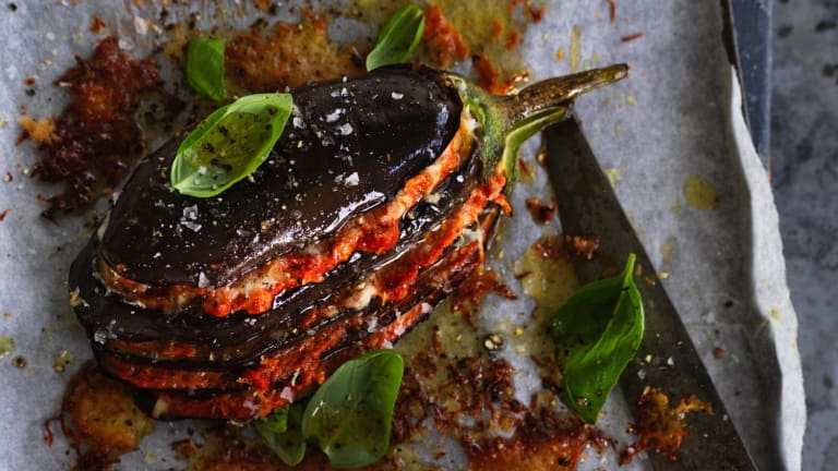 Roast eggplant with muhammara and haloumi.