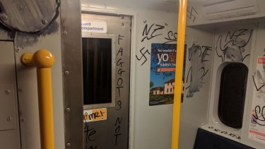 Transport for NSW said the graffiti was reported five days ago and promptly removed.