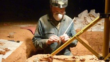 Professor Gavin Prideaux from Flinders University on a dig.