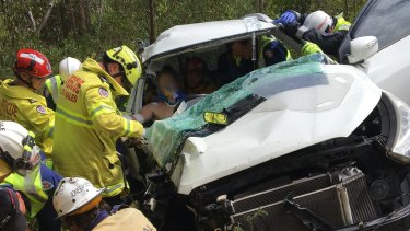 Emergency services had to cut the 17-year-old free from the vehicle.