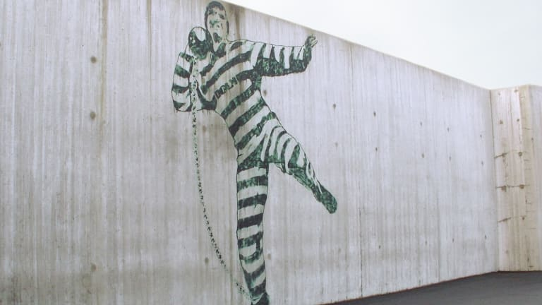 Forward thinking: Street art on the walls of Halden Prison.
