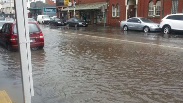 Sydney Road in Brunswick looked more like a 'lake' on Tuesday.