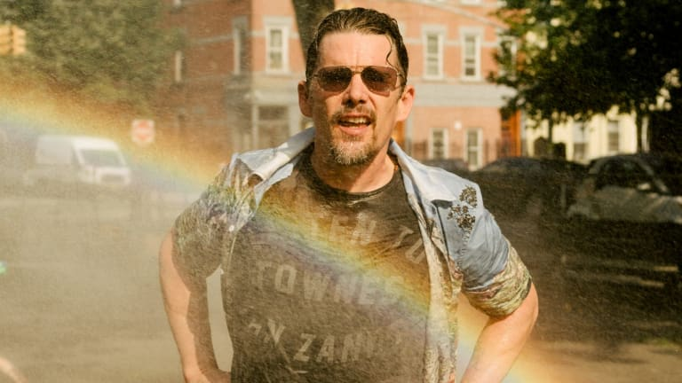 Ethan Hawke chases rainbows in Greenpoint, Brooklyn.