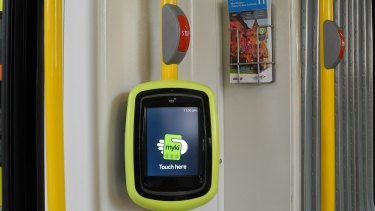 "One of the ""next generation"" faster myki readers being trialled on a route 11 tram."