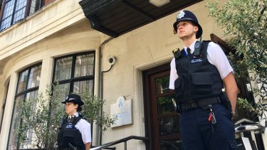 Police guard King Edward VII hospital in London, where Prince Philip is being treated.