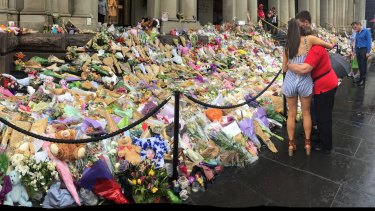 Tributes to victims at the shrine in Bourke Street.
