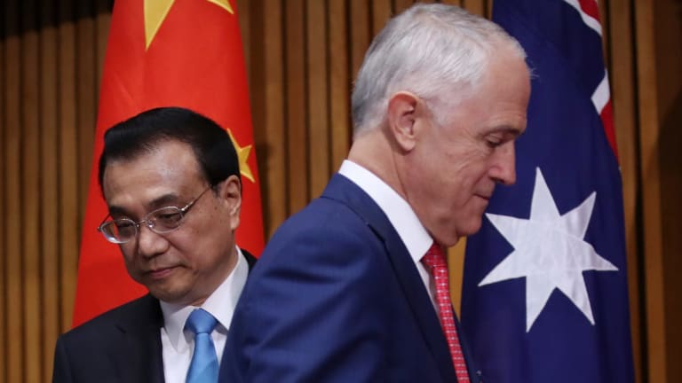 China's Premier, Li Keqiang, and Australia's Prime Minister, Malcolm Turnbull.