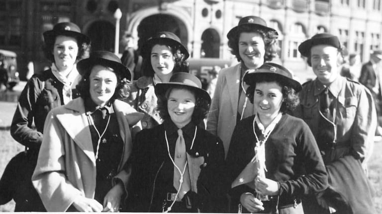 Girl Guides in 1945.