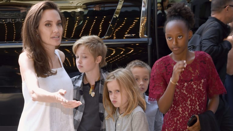 Angelina Jolie and her children, from left, Shiloh Jolie-Pitt, Vivienne Jolie-Pitt, Knox Jolie-Pitt and Zahara Jolie-Pitt, at the premiere of 'The Breadwinner' at the Toronto International Film Festival.