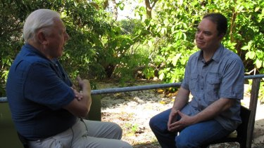 John Cook from UQ's Global Change Institute interviewing Sir David Attenborough for a segment in their 'Making Sense of Climate Change Denial' course.